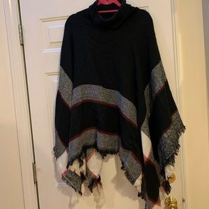 Lulus black and red poncho